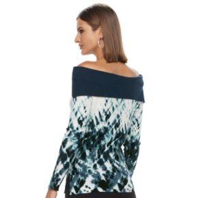Women's Rock & Republic® Off-the-Shoulder Tie-Dye Sweater
