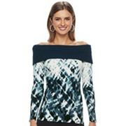Women's Rock & Republic® Off-the-Shoulder Tie-Dye Sweater
