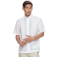 Men's Havanera Classic-Fit Geometric L-Panel Linen-Blend Embroidered Button-Down Shirt
