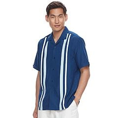 Men's Havanera Classic-Fit Striped Panel Button-Down Shirt