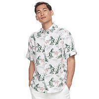Men's Havanera Classic-Fit Flamingo Tropical Linen-Blend Button-Down Shirt