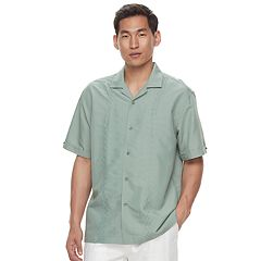 Men's Havanera Classic-Fit Embroidered Panel Button-Down Shirt