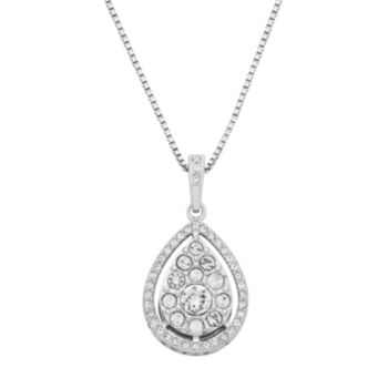 Diamond Splendor Sterling Silver Crystal Teardrop Pendant Necklace