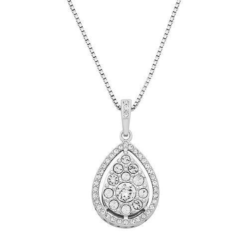 Diamond splendor sterling silver crystal teardrop pendant necklace mozeypictures Choice Image