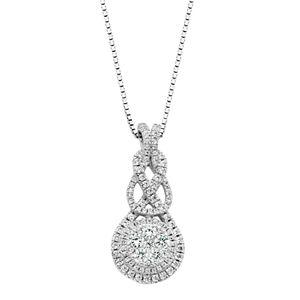 Diamond Splendor Sterling Silver Cubic Zirconia Halo Pendant