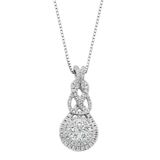 Diamond Splendor Sterling Silver Cubic Zirconia Halo Pendant