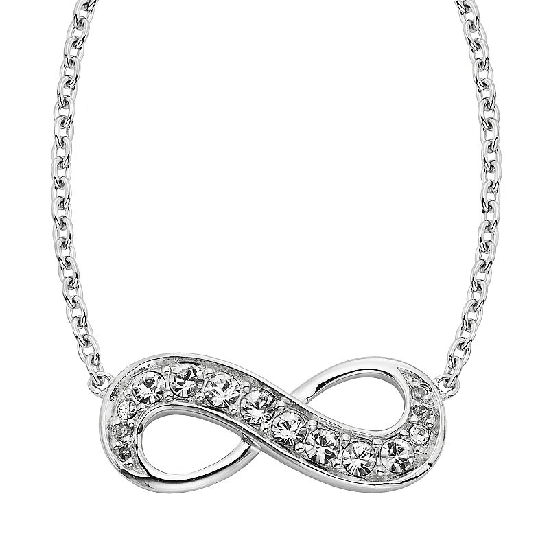 Diamond Splendor Sterling Silver Crystal and Diamond Accent Infinity Necklace, Women's, White