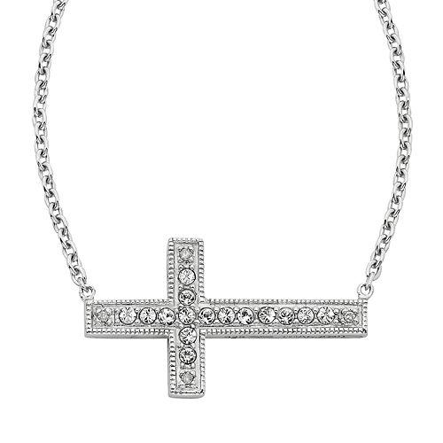 Diamond Splendor Sterling Silver Crystal & Diamond Accent Sideways Cross Necklace