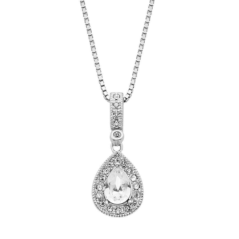 Splendor crystal diamond accent sterling silver teardrop pendant diamond splendor crystal diamond accent sterling silver teardrop pendant necklace mozeypictures Gallery