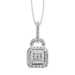 Diamond Splendor Crystal & Diamond Accent Sterling Silver Lock Pendant Necklace