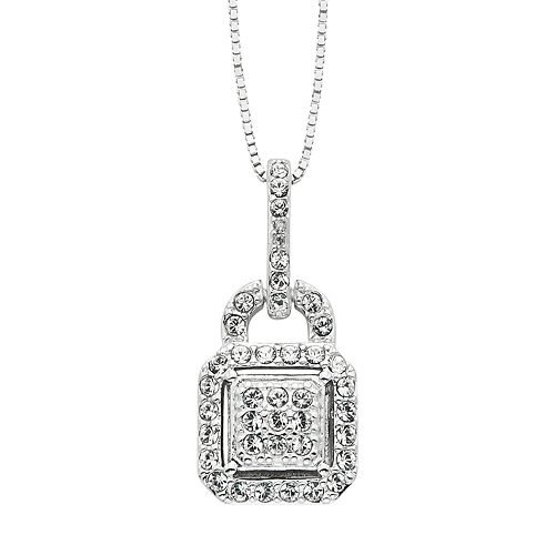 Diamond Splendor Crystal & Diamond Accent Sterling Silver Lock Pendant Necklace