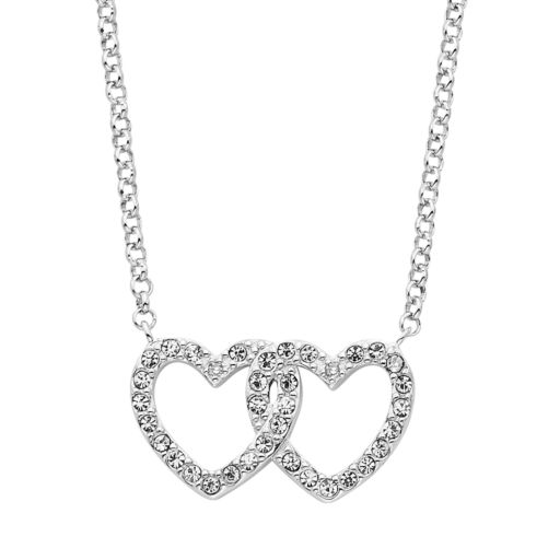 Diamond Splendor Crystal & Diamond Accent Sterling Silver Double Heart Necklace