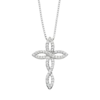 Diamond Splendor Crystal & Diamond Accent Sterling Silver Cross Pendant Necklace