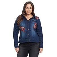 Plus Size Gloria Vanderbilt Ellie Rose Applique Jean Jacket