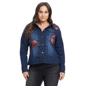 Plus Size Gloria Vanderbilt Ellie Rose Applique Jean Jacket