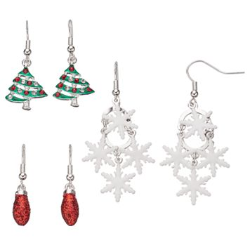Christmas Tree, Glittery Bulb & Snowflake Drop Earring Set
