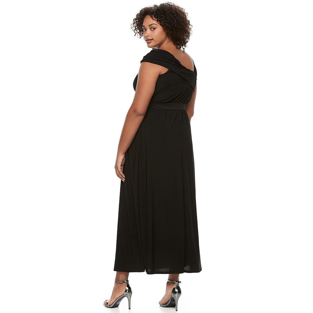Juniors' Plus Size Wrapper Asymmetrical Maxi Dress