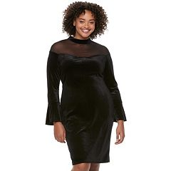 Juniors' Plus Size Wrapper Mesh Illusion Velvet Dress