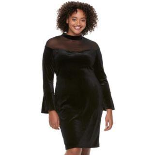 Juniors' Plus Size Wrapper Mesh Illusion Velvet Dress