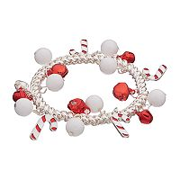 Candy Cane & Jingle Bell Stretch Bracelet