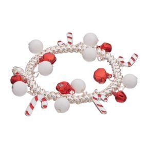 Candy Cane & Jingle Bell Stretch Bracelet