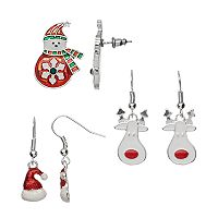 Santa Hat, Reindeer & Snowman Drop Earring Set