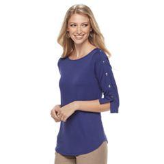 Petite's Apt. 9® Faux Snap Shirt Tail Tee