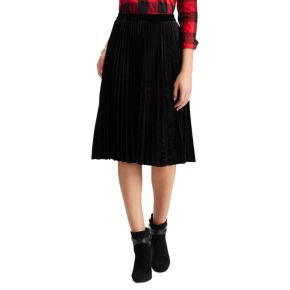 Chaps Women's Metallic Faux-Suede Pleated Midi Skirt
