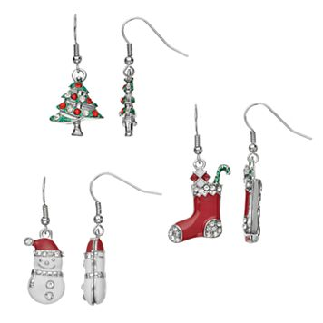 Christmas Tree, Snowman & Stocking Drop Earring Set