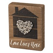 Home 'Love Lives Here' String Box Sign Art