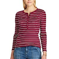 Women's Chaps Striped Henley Top
