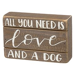 'Love And A Dog' Box Sign Art