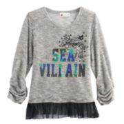 "Disney D-Signed Descendants Girls 7-16 ""Sea Villain"" Tulle Hem Hatchi Top"