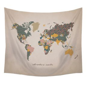 "Stratton Home Decor ""Adventure Awaits"" Map Wall Tapestry"