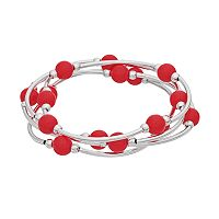 Plus Size Beaded Curved Bar Stretch Bracelet Set