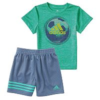 Baby Boy adidas Defender Athletic Ball Graphic Tee & Shorts Set