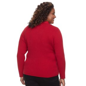 Plus Size Croft & Barrow® Quilted Full-Zip Sweater Jacket