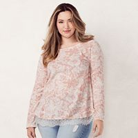 Plus Size LC Lauren Conrad Lace Trim Top