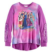 Disney D-Signed Descendants 2 Girls 7-16 Sequin Sleeve Graphic High-Low Top
