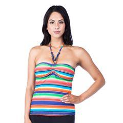 Women's Chaps Striped Bandeaukini Top