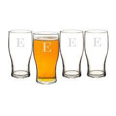 Cathy's Concepts 4 pc Monogram Craft Beer Pilsner Glass Set