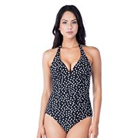 Women's Chaps Tummy Slimmer Polka-Dot One-Piece Swimsuit
