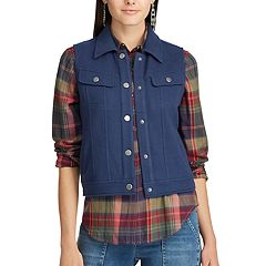 Women's Chaps Fleece Trucker Vest