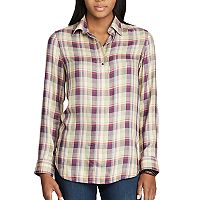 Women's Chaps Plaid Twill Shirt