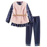 Toddler Girl Little Lass Faux Fur Vest, Babydoll Top & Jeggings Set