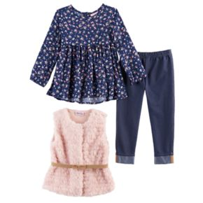 Toddler Girl Little Lass Faux Fur Vest, Babydoll Top & Jeggings Set