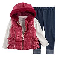 Toddler Girl Little Lass Foil Faux Fur Vest, Ribbed Tee & Jeggings Set