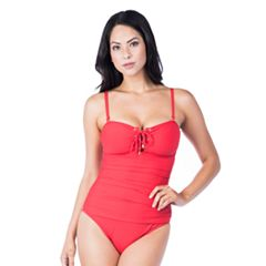 Women's Chaps Tummy Slimmer Lace-Up One-Piece Swimsuit