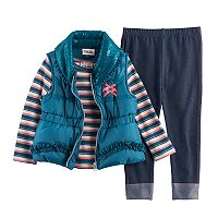Toddler Girl Little Lass Puffy Vest, Striped Tee & Leggings Set