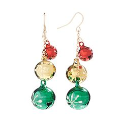 Gold Tone Jingle Bell Drop Earrings